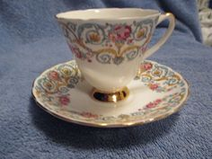 Royal Ardalt Footed Teacup and Saucer Gold Trim Intricate Flower Design