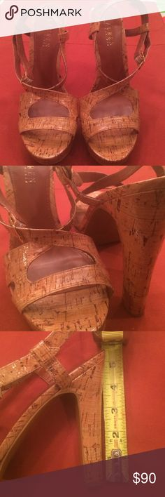 Ralph Lauren heels 5 inch cork heels. Beautiful shoes worn only around house, unfortunately they were too high for me. Ralph Lauren Shoes Heels