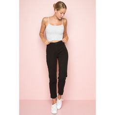 Tilden Pants ($38) ❤ liked on Polyvore featuring pants, pink pants, high waisted pants, cotton elastic waist pants, pink high waisted pants and cotton pants