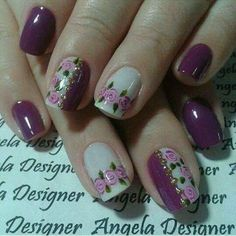 Purple and Cream Nail Art with Free Hand Roses Fancy Nails, Cute Nails, Pretty Nails, Fingernail Designs, Nail Art Designs, Nails Design, Gorgeous Nails, Beautiful Nail Art, Spring Nails