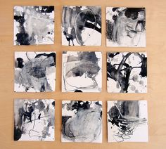 """9 drawings in response to a poem """"measurable"""" by dswoo (2011) Acrylic and charcoalon paper 150x150mm 