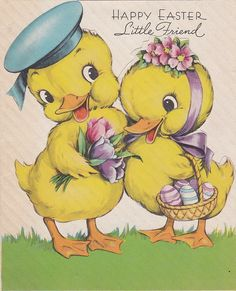Happy Easter, Little Friend, Heartfelt Greetings To You I Send: Wrapped Within My Fondest Wishes, Tied With Love And A Million Kisses. Easter Greeting Cards, Vintage Greeting Cards, Vintage Ephemera, Vintage Postcards, Easter Art, Easter Crafts, Easter Bunny, Happy Easter, Easter Eggs