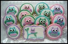 Turquoise, Green, Pink & Purple Owl Cookies