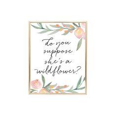 YOU PRINT PRINTABLE Wall Art 16x20 Jpeg Do You Suppose she's a Wildflower, Alice in wonderland, nursery decor, nursery inspired, nursery inspo, baby room decor, children's decor