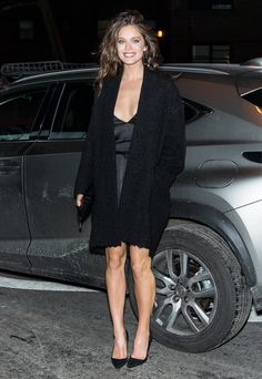 Emily Didonato in a black cardigan + black slip dress + black heels Emily Didonato, Grunge Fashion, Fashion Wear, Fashion Outfits, Black Slip Dress, Sports Illustrated Models, Only Clothing, Models Off Duty, Vestidos