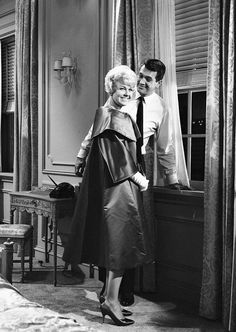 """mattybing1025:  Doris Day and Rock Hudson on the set of Pillow Talk, 1959.""""He'd holler,'Eunice, I'll be over in a minute with a doughnut!' We had a marvelous time."""" –Doris Day"""