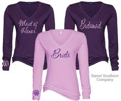9 Bride and Bridesmaids Vneck Long Sleeve by SweetSouthernCompany