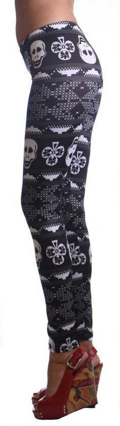 You will love these classic women's leggings. These lucky skull ankle leggings go great with any style top. You can dress them up or down. Wear your favorite heels or Flat creating a versatile look. Y