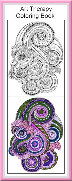 """Printable Art Therapy Coloring Pages 30 High definition coloring pages, black outlines with colored examples. This mandala art therapy coloring page is from """"Art therapy Coloring Book"""" available for $2.89 at Etsy.  Printable coloring pages for adults and big kids."""