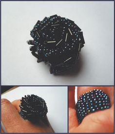 tutorial: a beautiful ring with a piece of fabric and beads