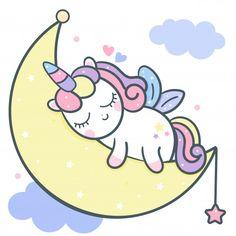 Cute Unicorn vector moon cartoon with magic sleeping time for sweet dream, Kawaii style, Cute fairytale pony Happy Birthday Party. Perfect for kid's greeting card design, t-shirt print. Unicorn Painting, Unicorn Drawing, Unicorn Art, Baby Unicorn, Doodles Kawaii, Cute Kawaii Drawings, Moon Cartoon, Cute Cartoon, Sleep Cartoon