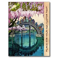 Kameido Bridge by Hiroshi Yoshida shin hanga Post Card