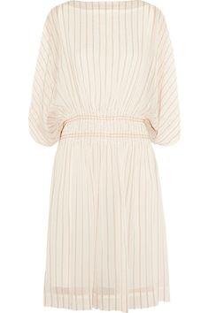 Smocked Silk-Blend Chiffon Dress by Chloé