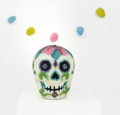 Day Of The Dead Skull Beaded Floral Día de los by MeredithDada