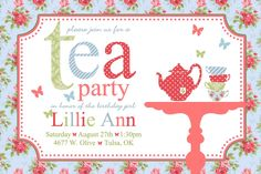Free Tea Party Invitations For Little Girls