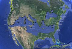 If you superimpose the Mediterranean Sea (and the Black Sea) over a map of the United States (map by Bret Drager) -- creating ge Geography Map, World Geography, Teaching Geography, Map Of The Mediterranean, North America Map, United States Map, Fantasy Map, Alternate History, Historical Maps