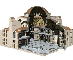 cutaway view of Hagia Sophia - The Church of the Holy Wisdom - Constantinople, Byzantine Empire - up until it was the largest cathedral in the world Byzantine Architecture, Roman Architecture, Church Architecture, Historical Architecture, Ancient Rome, Ancient History, Art History, Hagia Sophia, Axonometric View