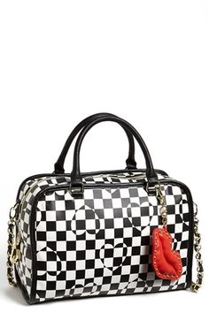 Betsey Johnson 'King Me - Large' Satchel available at #Nordstrom  A swank satchel remakes its checkered past into something chic, styled with heart motifs and a flamboyant lip keychain dangling from the strap.•Top zip closure.  •Optional strap.  •Interior zip, wall and cell-phone pockets; key clip.  •Logo-print lining.  •Polyurethane.  •By Betsey Johnson; imported.  $108.00
