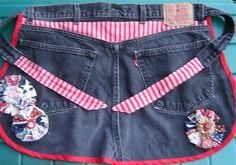 blue jean apron with a pouch in front for cloths pins