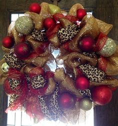 Holiday leopard gold and red deco mesh wreath