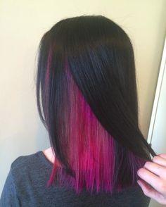 Hairsmart Revealing the magical magenta under layer? (at Salon Blu) Under Hair Dye, Under Hair Color, Hidden Hair Color, Hair Color Streaks, Hair Color Purple, Hair Dye Colors, Hair Highlights, Under Highlights, Peekaboo Hair Colors