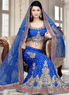 Blue Art Dupion Silk Lehenga Choli