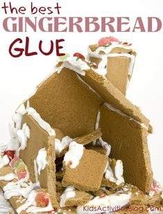 "The Absolutely Best Gingerbread House Glue Avoid gingerbread house collapse with this easy recipe for the best gingerbread house glue. - no fail recipe for Christmas ""Gingerbread Glue"" - it will make it easier for kids to build Cool Gingerbread Houses, Gingerbread House Parties, Christmas Gingerbread House, Graham Cracker Gingerbread House, Royal Icing Recipe For Gingerbread House, Gingerbread Cookies, Graham Cracker House, Gingerbread House Template, Gingerbread House Decorating Ideas"