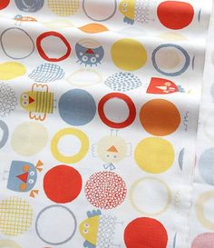 Colorful Circle and Cute Chicks Pattern Cotton by luckyshop0228, $12.00