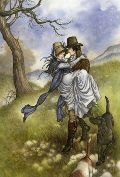 The gentleman offered his services, and perceiving that her modesty declined what her situation rendered necessary, took her up in his arms without farther delay, and carried her down the hill; Willoughby and Marianne - Jane Austen's Sense and Sensibility, 2011