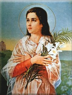 """Saint Maria Goretti - Virgin and Martyr, holy of forgiveness. Even before her death, Maria forgave her murderer and confessed to the hospital chaplain: """"I forgive him and I want him to be with me in. Catholic Memes, Catholic Saints, Patron Saints, Roman Catholic, Catholic Art, Santa Maria, Religious Images, Religious Art, St Maria Goretti"""