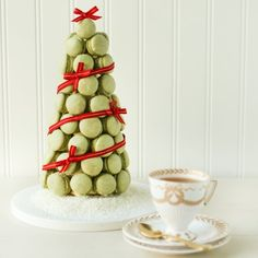 Christmas Macaron Tree. With directions on how to tea-infuse buttercream. Classic & chic, sure to be the centerpiece of any Christmas