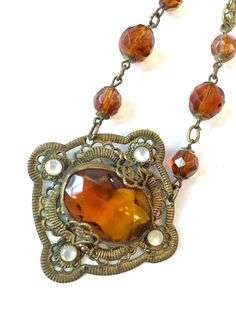 Vintage Art Deco Czech Necklace Amber Glass Crystal Moonstone Filigree Brass Gilt Open Back 1920s Antique Victorian Estate Jewelry Signed