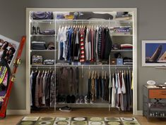Modern Bedroom with Boys Closetmaid Shelving Organizer, White Wire Shelves Rack Boys Closet Ideas, and Grey Wall Paint Closet Designs, 9 designs in Closet Maid Shelving gallery Small Closet Organization, Closet Storage, Organization Ideas, Toy Storage, Storage Ideas, Bedroom Organization, Bedroom Storage, Boys Closet, Closet Bedroom