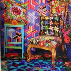 Incredible color and pattern a la Kaffe Fassett