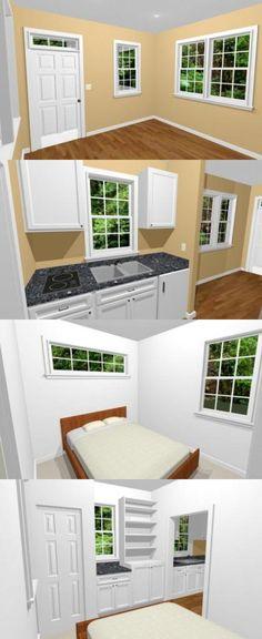PDF house plans, garage plans, & shed plans. Tiny House Layout, Small Tiny House, Tiny House Living, Tiny House Design, Small House Plans, House Layouts, Small Living, Home Building Tips, Building A Cabin