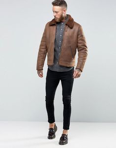 Men's Street Style — anunrealblog:    ASOS Faux Shearling Jacket In Tan