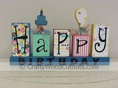 Happy Birthday blocks with vinyl from craftywoodcutouts.com - new design with birthday cake