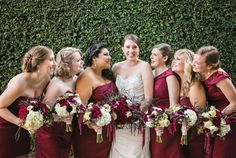 Merlot bridesmaids dresses // cranberry, wine and gold theme // the moss and rose