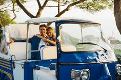 Spouses on Ape Calessino in Capri island Wedding Car, Wedding Photos, Capri Island, Horse Carriage, Amalfi Coast, Beautiful Couple, Just Married, Vespa, Italy