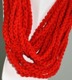Beautiful Red  Infinity Scarf/ neck by Beautifulcrochet on Etsy, $10.00