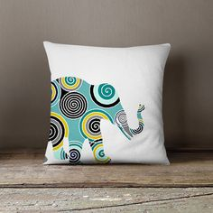 Elephant Throw Pillow Cover Teal Navy Yellow Decor Elephant Decor... ($34) ❤ liked on Polyvore featuring home, home decor, throw pillows, decorative pillows, grey, home & living, home décor, teal throw pillows, grey accent pillows and gray accent pillows
