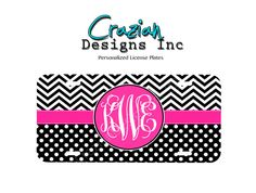Front license plate Monogram , front car tag - Polka Dots and Chevron Monogrammed License Plate - Vanity Plate
