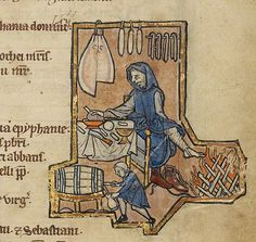 """A Belgian psalter of the mid 1200's with an illumination of a man at dinner warming his feet. This image clearly depicts a """"stirrup pant"""" strap on his hosen. This apparantly is to keep his hose from climbing up his shin and keep them tucked down in his high topped shoes."""