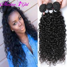 Peruvian Water Wave Weave Ocean Wave Virgin Hair 3 Bundles Peruvian Human Hair Extensions #1B Natural Wavy Curly Hair water Wave