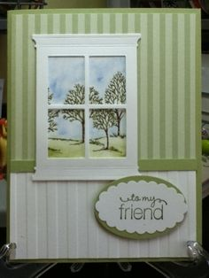 Window card looking outside Handmade Greeting Card Designs, Handmade Birthday Cards, Window Cards, Up House, Friendship Cards, Scrapbook Cards, Scrapbooking, Cards For Friends, Card Maker