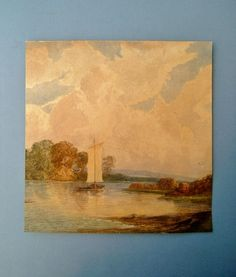 Antique Edwardian Watercolor Painting of Sea by Biminicrickets, $45.00