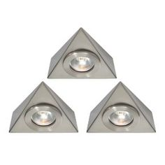 Saxby Nyx LED Triangular Cabinet Downlight Kit Warm White 7.5W  3 Pack | Kitchen Cabinet Lighting | Screwfix.com Under Cabinet Lighting, Daisy Chain, Nickel Finish, Downlights, Nyx, Warm, Steel, Kitchen Ideas, Satin