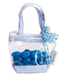 Sac à dragées Plastique Vichy Bleu