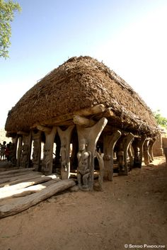 Africa | Village of Youdio: the Togunà (home of the word/men's assemblies and council meetings are held here).  Dogon Country, Mali  | ©Sergio Pandolfini