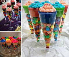 Plastic Flute M&M Cupcake Favours
